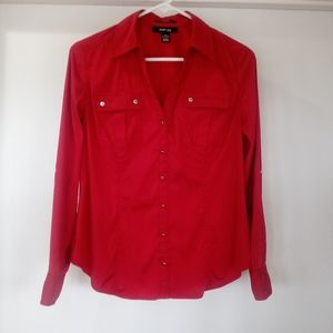 Style & Co. Petite Red Stretch Blouse Sz PS